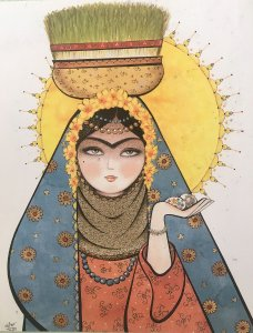 Painting of a Persian Lady with Sabze and the Sun: Farsi Lessons