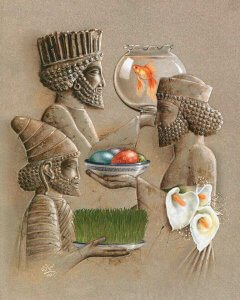 Farsi Student: Painting of Ancient Men and Nowruz by Kamelia Shojaee