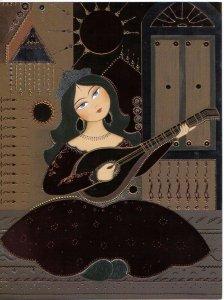 Farsi Lessons: Persian lady playing Tar by Kamelia Shojaee